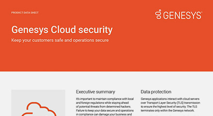 Genesys cloud security data sheet
