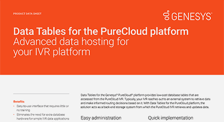 Data tables for purecloud