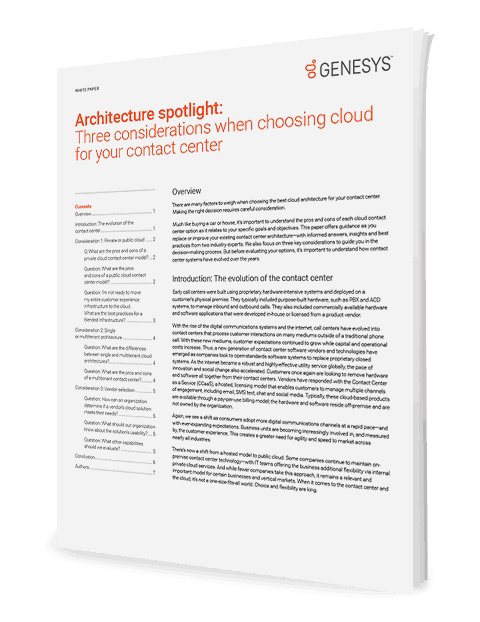 Architecture spotlight three considerations when choosing cloud for your contact center wp 3d en