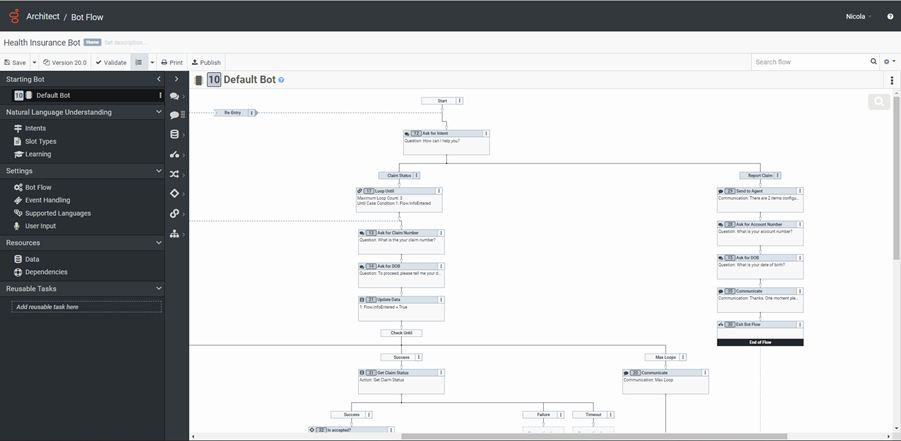 Dialog engine bot flows