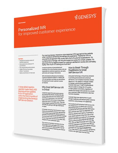 Personalized ivr for an improved customer experience executive brief ex 3d en