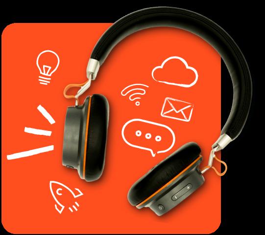 Podcasts hub hero headphones
