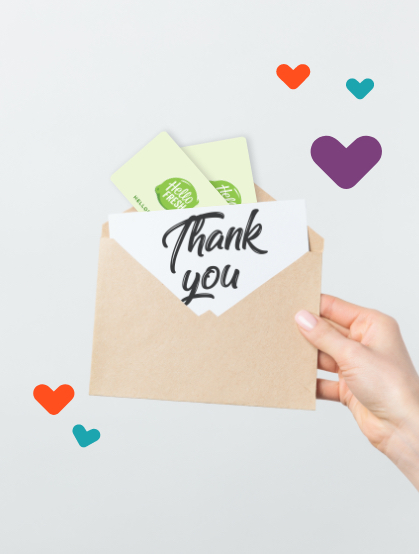 Thank you note with hearts