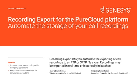 Recording export for the purecloud platform